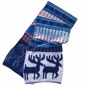 VINTAGE Nordic Deer Knit Scarf Blue Orange